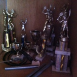 Some of Carl Jean-Louis' tennis trophies.