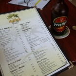 Menu and beer.