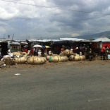 Baskets line the street across from the wharf. The wharf is where Haiti's main ports are.