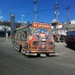 An awesome picture of LeBron painted on a taptap. Taptaps are the main form of public transportation in Haiti. They are usually colorfully painted pickup trucks with bench seating in the bed of the truck for people to sit on. They're called taptaps because you tap on the hood or back window of the truck cab when you want to get off.